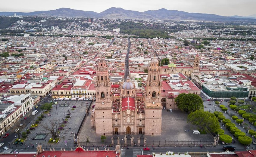 Aerial view of Cathedral of Morelia, Michoacán