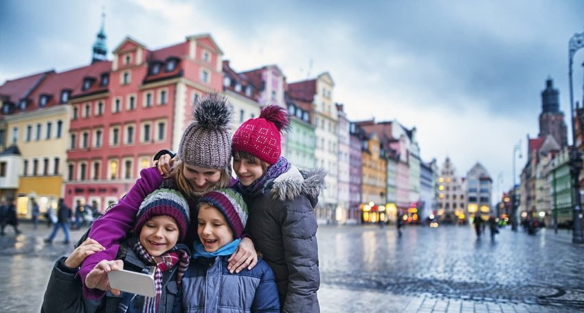 Family sightseeing city of Wroclaw in autumn