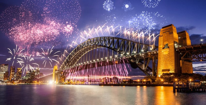 New Year's day fireworks and celebrations in Sydney