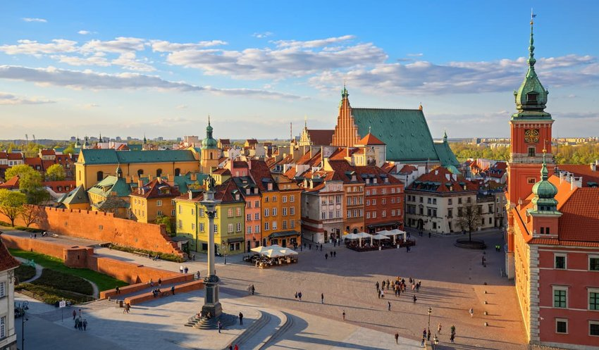 Aerial view of the old city in Warsaw, Poland