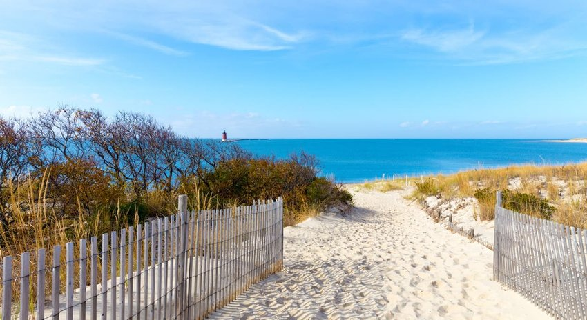 Path to the beach at Cape Henlopen in Lewes, Delaware along the Atlantic Ocean