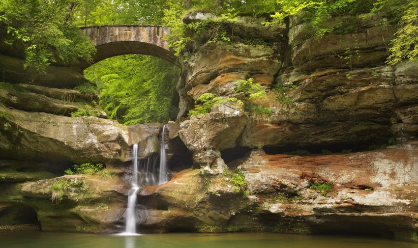 Waterfall and bridge in Hocking Hills State Park, Ohio, USA
