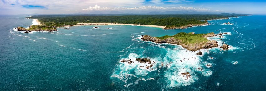 Aerial view of the coast of Oaxaca in Mexico