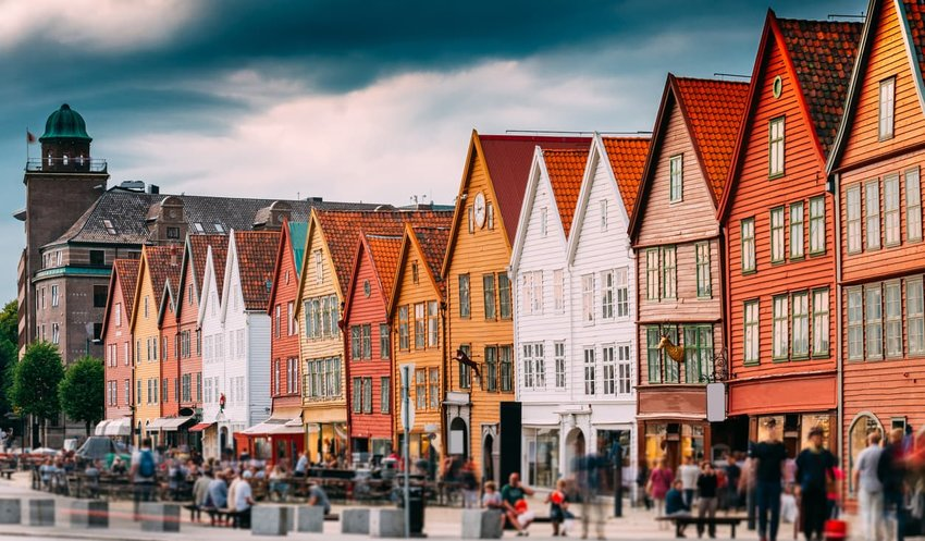 Hanseatic Wharf In Bergen, Norway. UNESCO World Heritage Site.