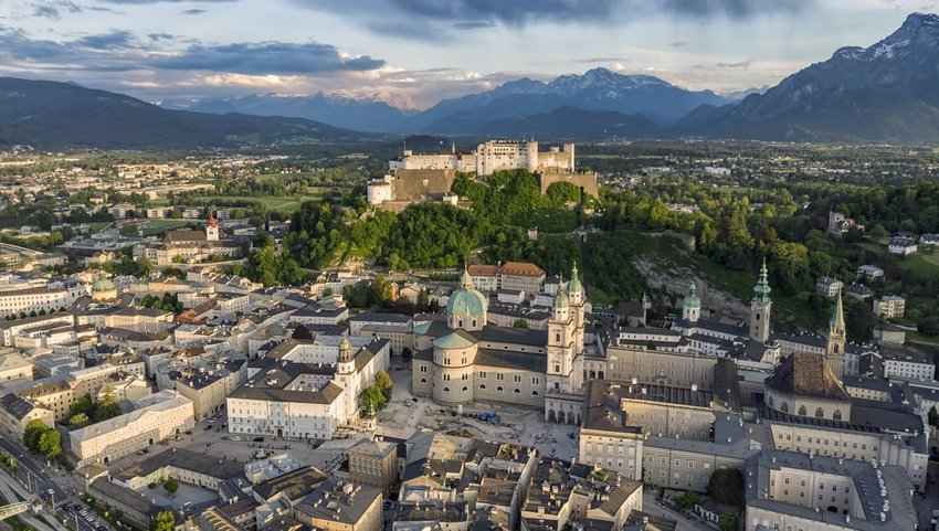 Aerial view of old Salzburg