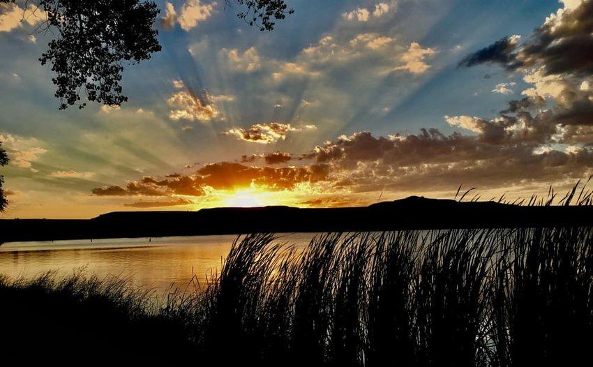 Sunset at Scott Lake Park, Kansas, USA