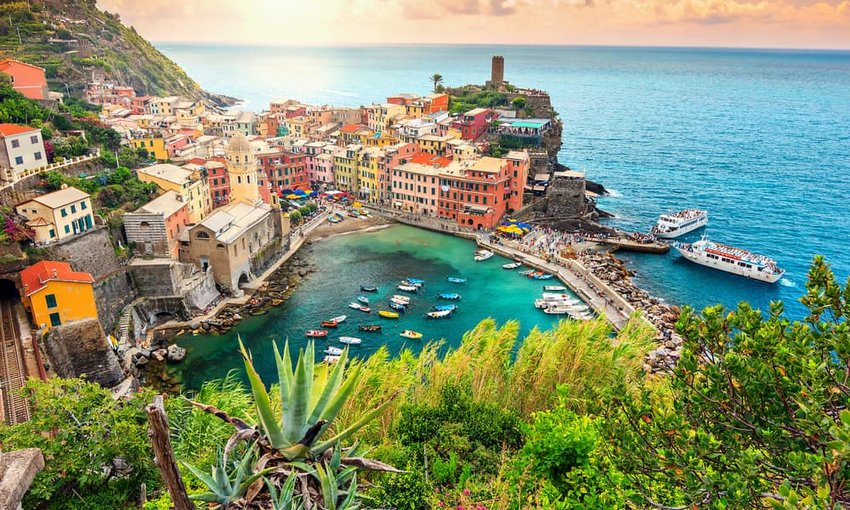 Panorama of Vernazza and suspended garden,Cinque Terre National Park, Italy