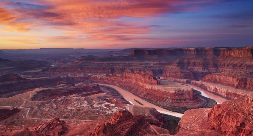Colorful sunrise at Dead Horse Point, Colorado river, Utah