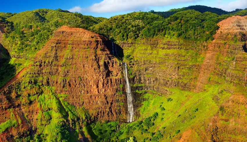 Stunning view into Waimea Canyon, also known as the Grand Canyon of the Pacific, Kauai, Hawaii