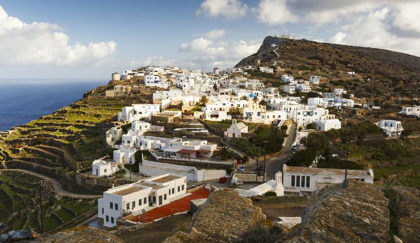 View of Kastro village on Sikinos island in Greece.