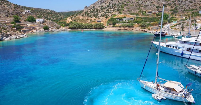 View of Schinoussa with turquoise clear waters, Cyclades, Greece