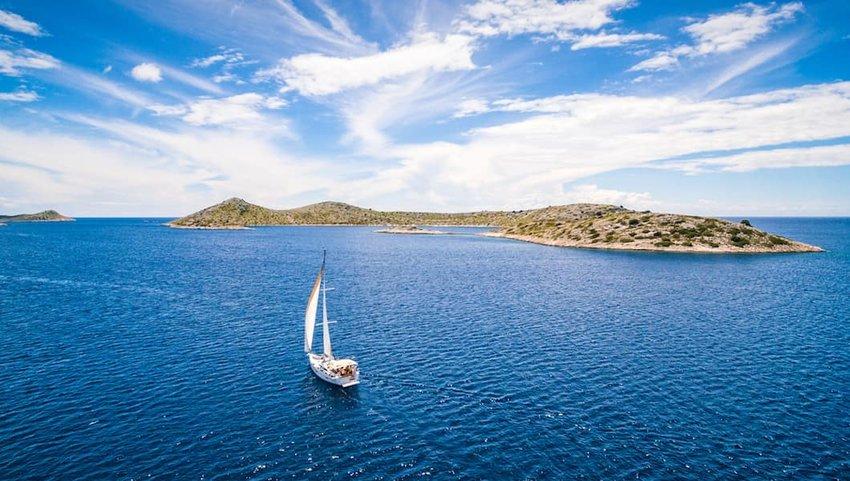 Sailboat-off-an-island-in-Croatia