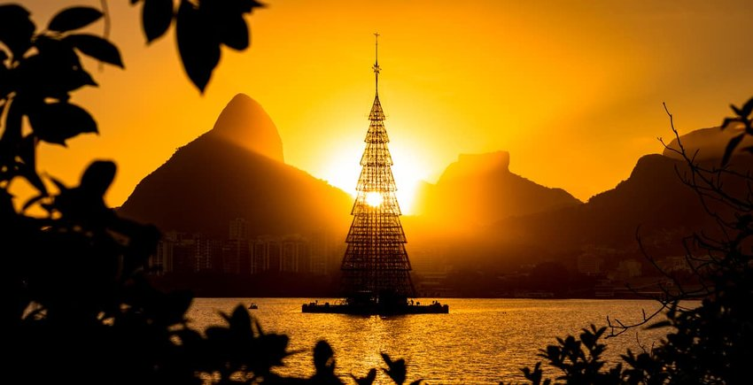Silhouette of Christmas Tree in Rio de Janeiro by Sunset