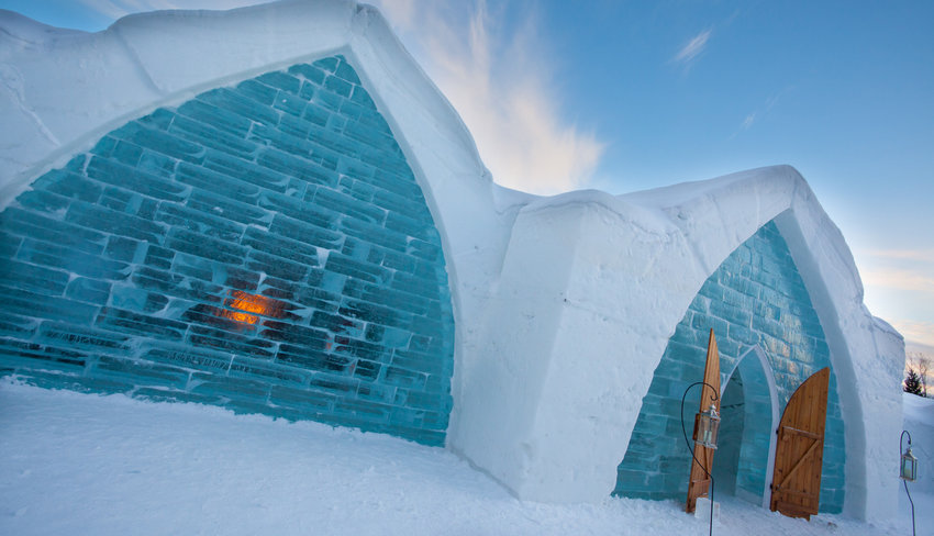 Quebec City Ice Hotel Ice Wall and Entrance