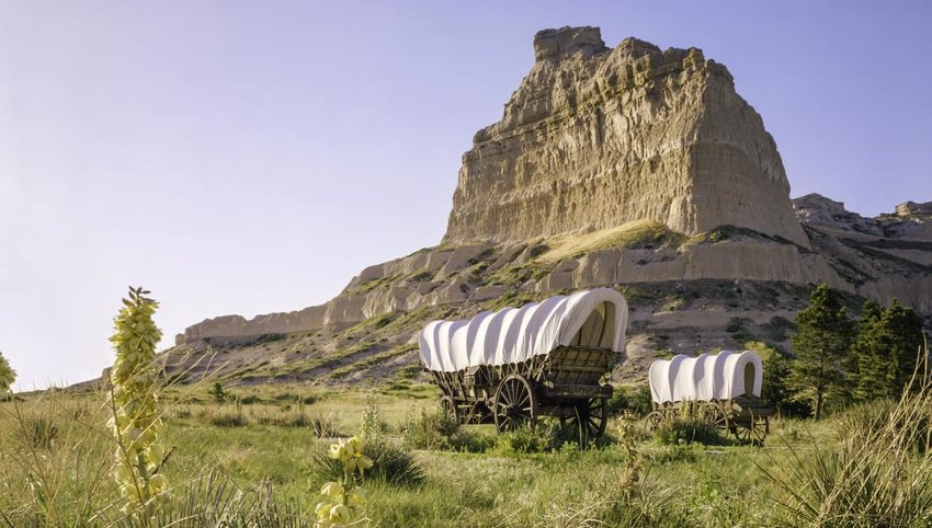 Conestoga covered wagons, Scotts Bluff National Monument, Oregon Trail, Nebraska