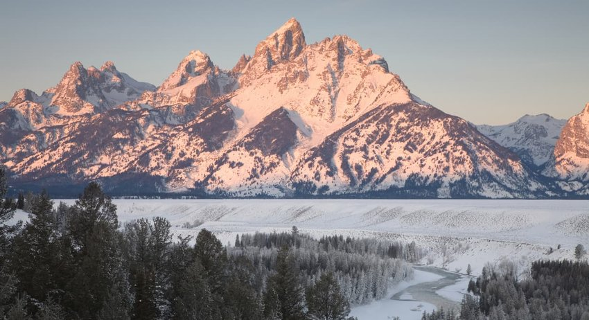 Teton Mountains in Winter at Sunrise