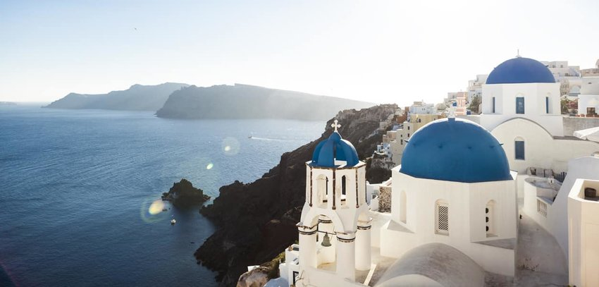 Blue Church Domes of Oia, Santorini, Greece