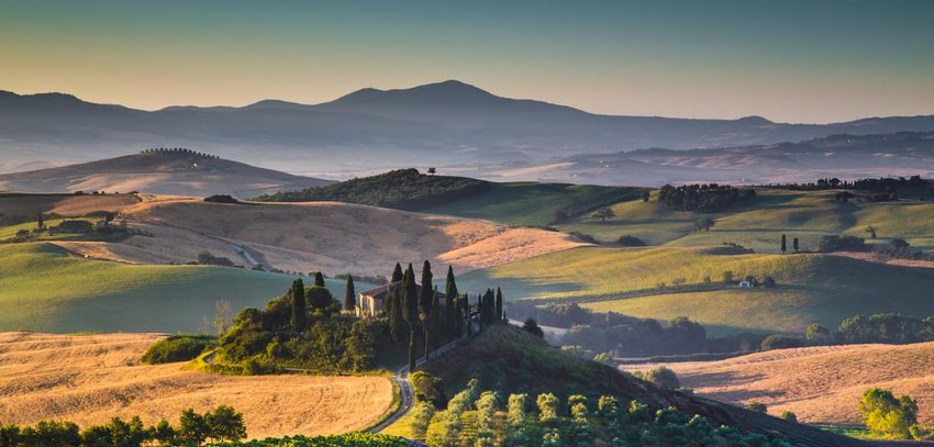 Scenic Tuscany landscape at sunrise