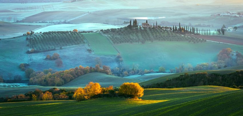 Misty view of Tuscany countryside