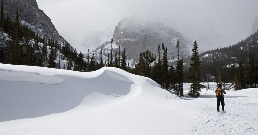 Person Snowshoeing Past Snow Drift in Rocky Mountain National Park