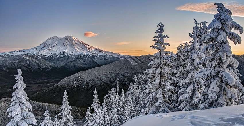 Sunrise on Snowy Mount Rainer in Cascade Mountains