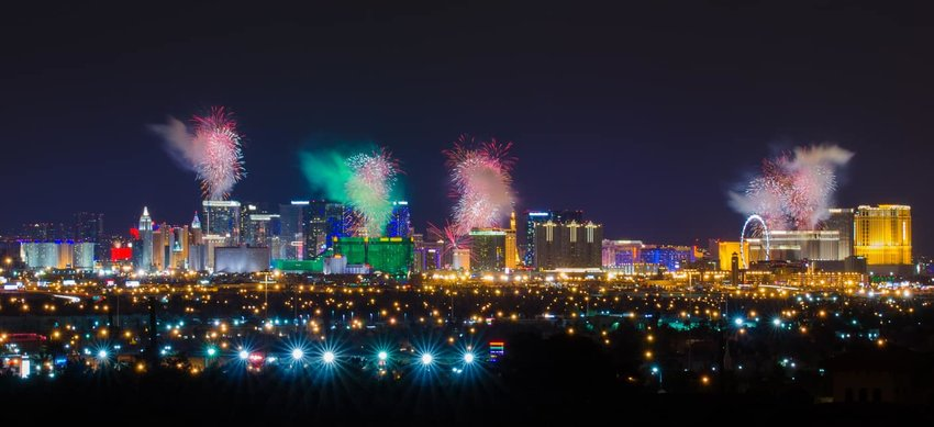 Firework over Las Vegas Strip