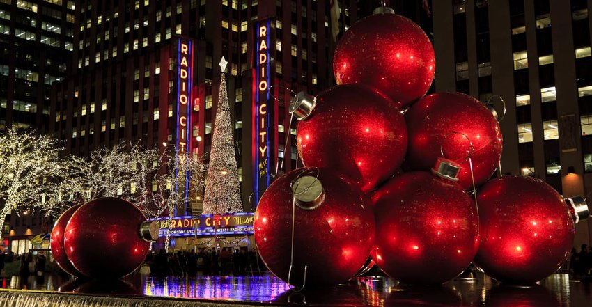 Radio City and Red Holiday Ornament Balls