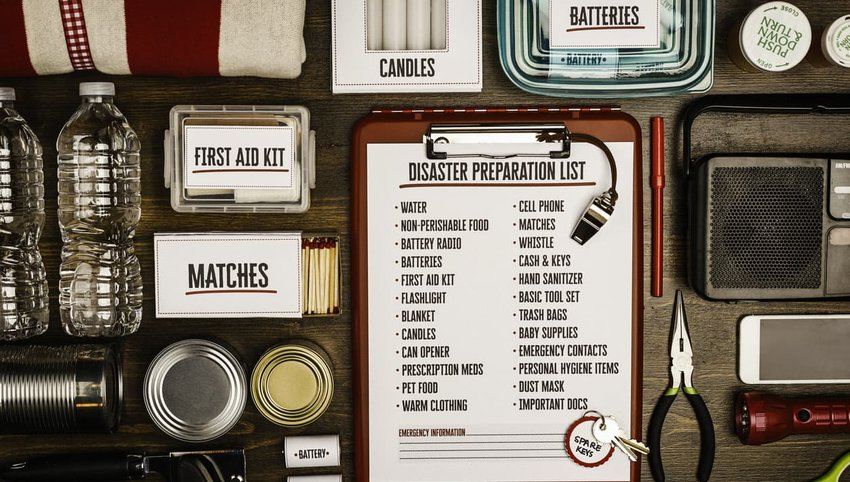 Disaster preparation kit flat lay