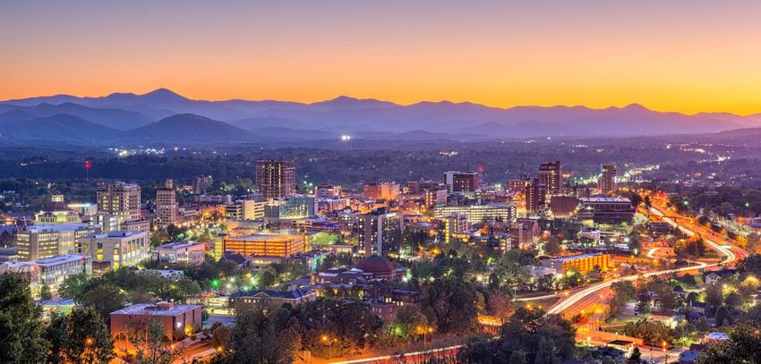 Aerial view of Asheville at Night