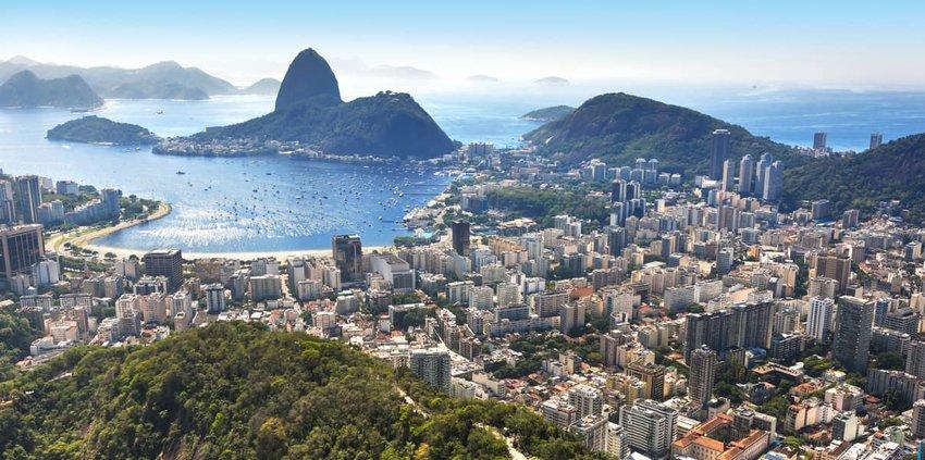 Spectacular aerial view over Rio de Janeiro, Brazil