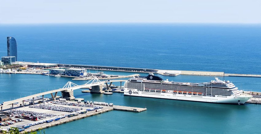 Aerial view Cruise ship in Port Vell, Barcelona