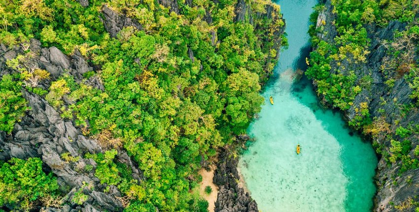aerial view of kayakers in Palawan