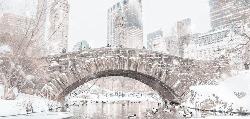 Snowy bridge in Central Park, New York City