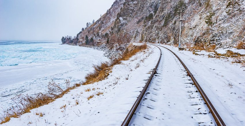 Trans-Siberian railway passing through snow