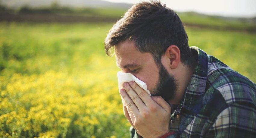 man in field sneezing