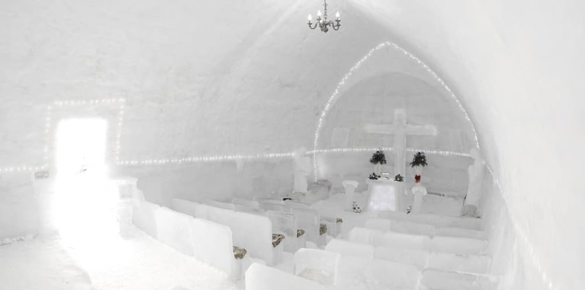 The famous ice hotel on the frozen Balea lake in Fagaras Mountains, Transylvania, Romania