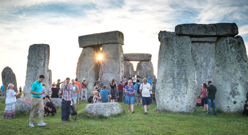 summer tourists at stonehenge