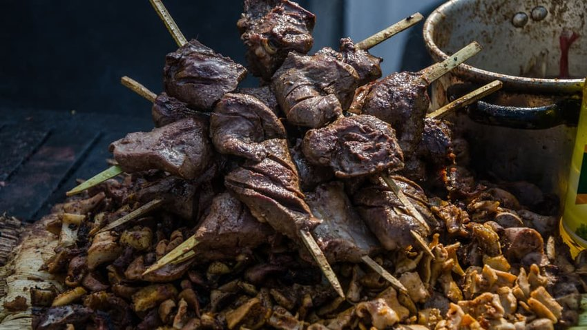 Traditional Peruvian food called anticuchos