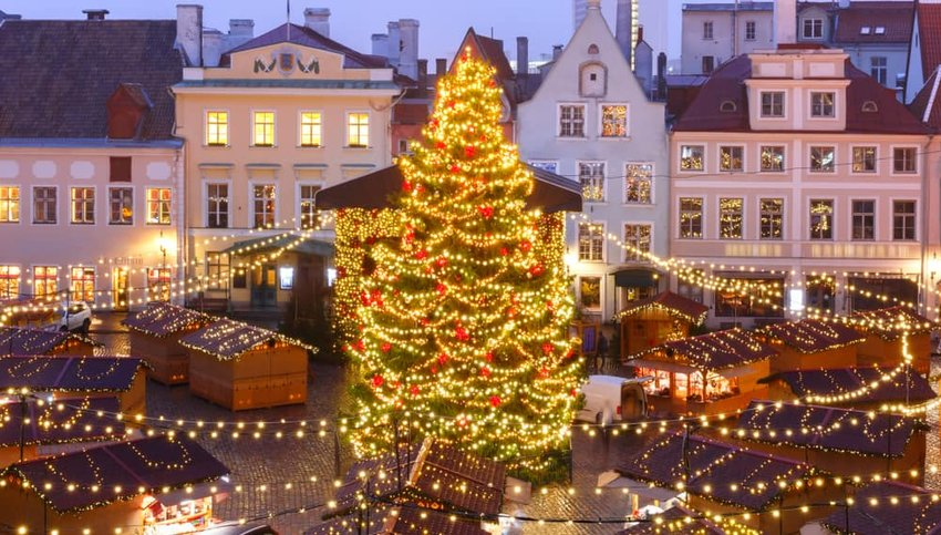 Christmas Market at Town Hall Square or Raekoja plats, Tallinn, Estonia