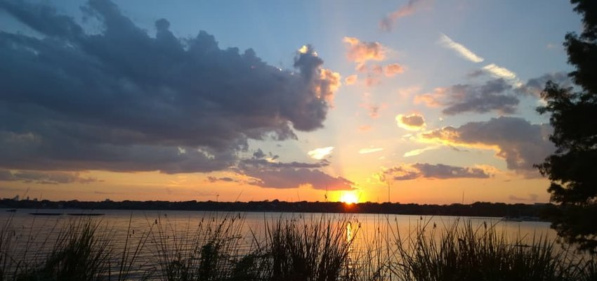 Sunrise at White Rock Lake, Dallas, Texas.