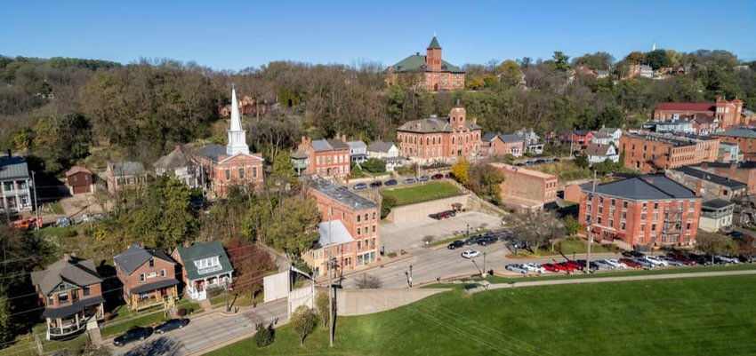 Aerial view of small historic town Galena in Illinois