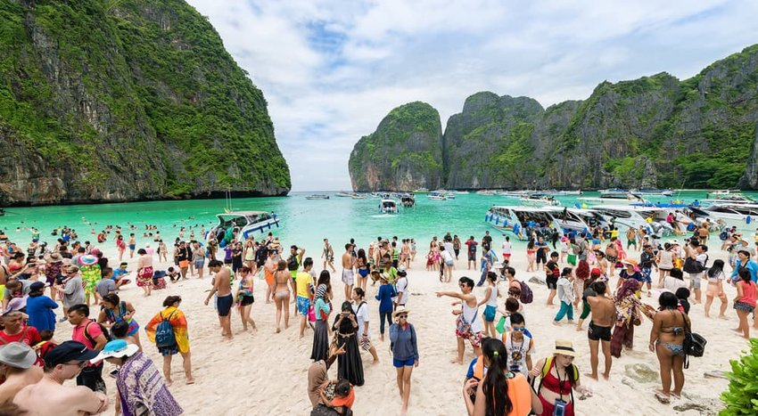 Tourists enjoying Phi Phi Island, Thailand