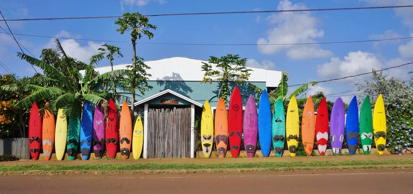 Colorful surfboards are lined up in the streets of Maui, Hawaii