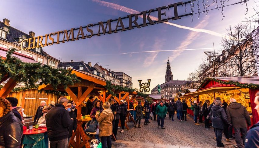 Christmas market in central Copenhagen, Denmark