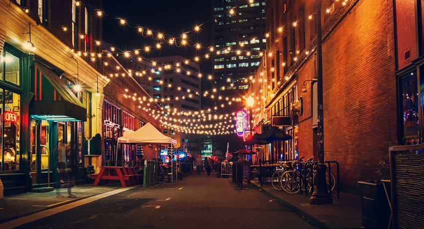 alley with twinkle lights in Portland