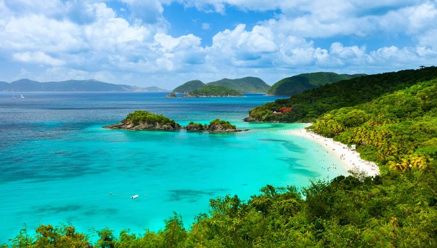 Photo of beach and mountains in Virgin Islands National Park