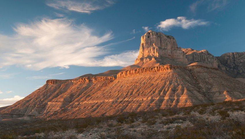 Photo of towering rock formation in Guadalupe Mountains National Park