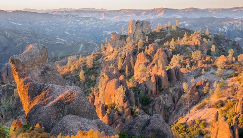 Photo of mountains and valleys in Pinnacles National Park