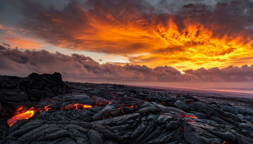 Photo of magma in Hawaii Volcanoes National Park
