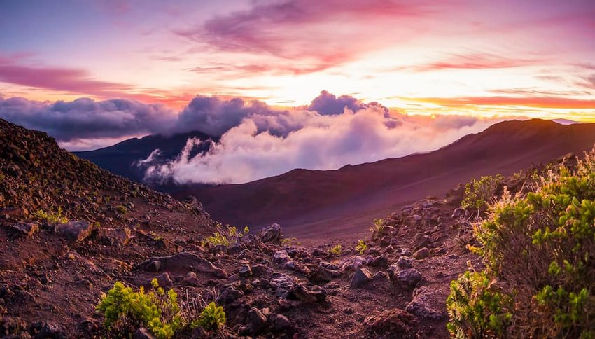 Photo of mountains at sunset in Haleakalā National Park